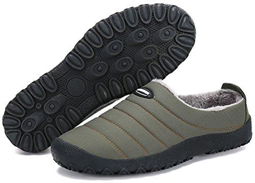 UMmaid Herren Damen Plüsch Winter Hausschuhe Warm Gefütterte Pantoffeln Outdoor Freizeit Schuhe Home Slippers,Grün 44 EU