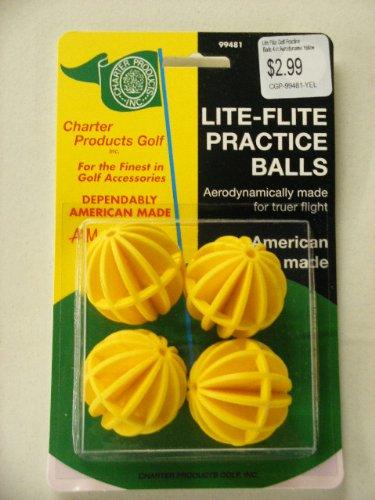 Lite Flite Golf Practise Balls 4 ct Aerodynamic Yellow