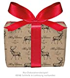 3er-Set Weihnachts Geschenkpapier Bögen HIRSCH MERRY CHRISTMAS Retro Kraftpapier Look NATUR Weihnachten & Adventszeit • Weihnachtspapier für Weihnachtsgeschenke, Merry Christmas (Format : 50 x 70 cm)
