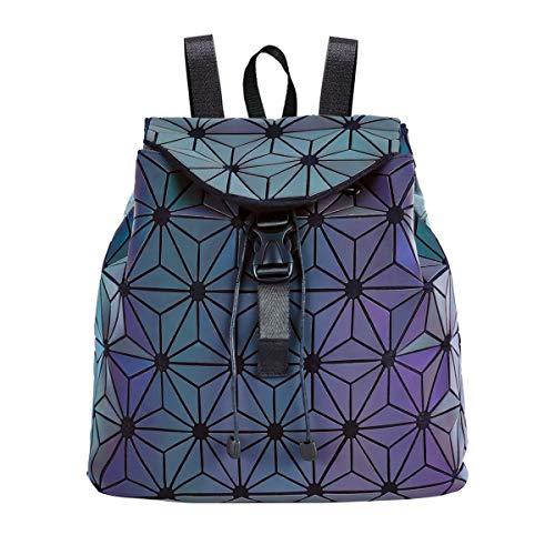 Frauen geometrische Rucksack Lingge Luminous Flash Schulrucksack, holographische reflektierende Rucksäcke Umhängetasche Reisetasche College Rucksack für Damen Mädchen