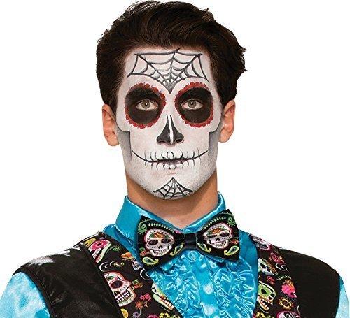 Halloween Zuckerschädel Karneval Kostüm Verkleidung Outfit Accessoire Fliege (Herren Tag Der Toten Halloween-kostüm)