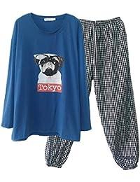 44addb4f77 Mmllse Baumwolle Langärmelige Pyjamas Frühling Und Herbst Cartoon Hund  Runden Hals Lässig Männer Und Frauen Hause