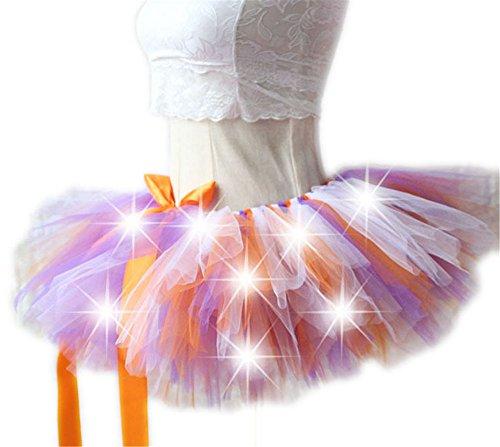�dchen Kinder Tutu Kleid Leucht Kostüm Kleider Regenbogen Mini Rock Party Skirt Tulle für Karneval Weihnachten Rosenmontag Design H (Frauen Halloween Kostüme Mit Tutu)