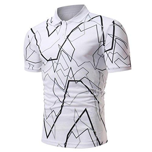 ASHOP Herren Poloshirt, Halbes Cardigans Kurzarm Slim Fit Casual T-Shirt (L, Weiß)