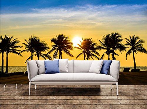 Fuß Palm Tree (Palm Tree Tapetensticker fantastischen tropischen Strand mit Palmen bei Sonnenuntergang riesigen Foto Tapete Wandbild (W) 12' 1 Meter x (H) 8'4 Fuß)