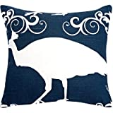 The-Well-Dressed-Bed-Accent-Pillow,-10-By-10-Inch,-Navy/Peacock