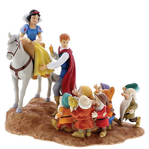 Enchanting Disney A Joyful Farewell-Snow White, Prince & Seven Dwarfs Figurine, Resin, Multicolour, 18 x 28 x 24 cm