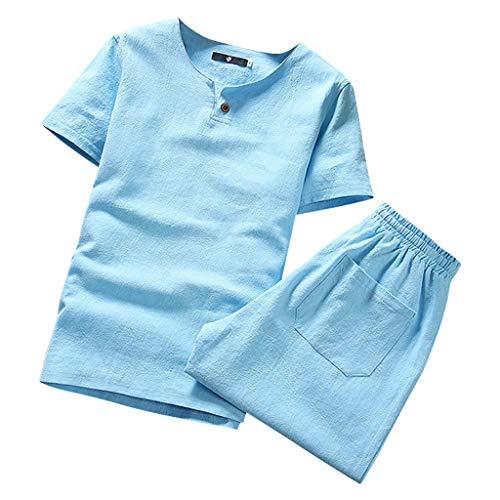 Beikoard Camicia di Lino Uomo CA23 in Cotone e Lino Tinta Unita Manica Corta Pantaloncini Completo da Uomo(Cielo Blu,XXXL)