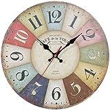 ZWOOS Silent Reloj de Pared Reloj de Cocina de Madera para Salón Dormitorio Cocina, 30CM