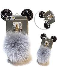 Vandot iPhone 6 6S Étui TPU Silicone Housse Briller Coque Case Cover Transparent Bling Strass Diamant Etui iPhone 6 6S 4.7 Pouces Housse Coque + Fashion boule de cheveux pendentif ornements-Clear Grey