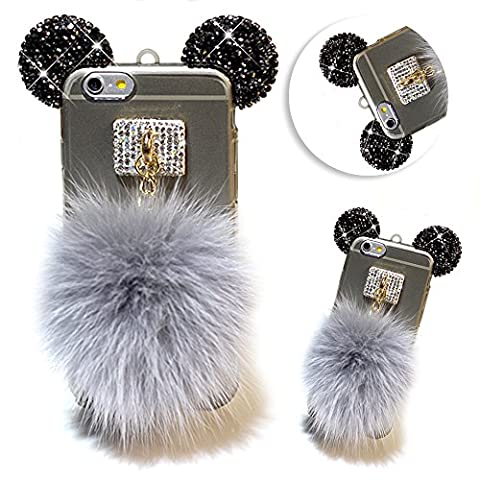 iPhone SE Case,Vandot Bling Diamond Mouse Ear Pompom Furry Fur Ball Pattern Soft TPU Silicone Case Crystal Clear Slim Fit Transparent Rubber Protective Back Cover for Apple iPhone SE 5S 5-Black /