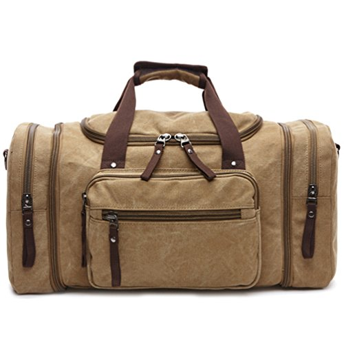 mens-weekender-duffle-bag-travel-tote-heavy-duty-overnight-bag-with-expandable-sides-khaki