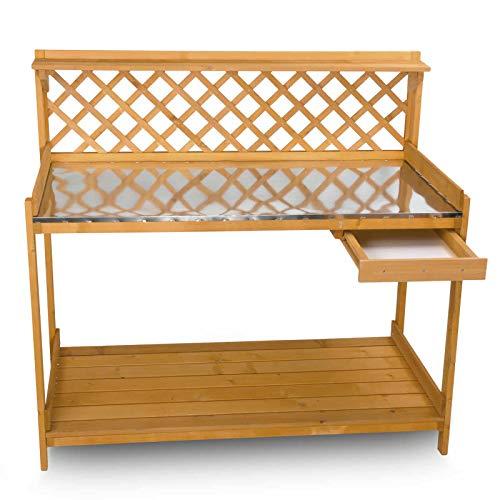 nxtbuy Pflanztisch mit verzinkter XXL Metall Arbeitsplatte 110×50 cm – wetterfester Gartentisch aus imprägniertem Holz – Gärtnertisch mit Schublade und 2 Haken