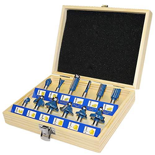 S&R Fräser-Set HM, Schaft 8mm, Holzkoffer, geschmiedeter Werkzeugstahl, Schneideplatten aus HM in Holzbox (Set 12-tlg.)