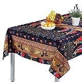 Topmail Bohemia - Mantel Largo Rectangular de Lino y algodón para Mesa de Comedor o jardín, Tela, Azul Marino, 140x140cm