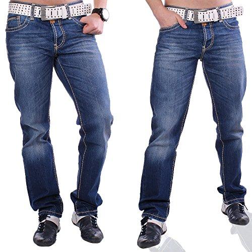Stylische Cipo & Baxx C-0688 Herren Jeans Hose mit dicker Naht Hose Used Look Verwaschen Blau / Dunkelblau Blau - Dunkelblau