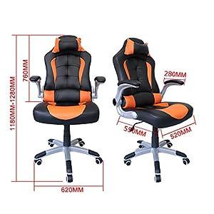 51oXoJh%2BDKL. SS300  - HG-silla-giratoria-de-oficina-silla-de-juego-confort-premium-reposabrazos-acolchados-silla-de-carrera-capacidad-de-carga-200-kg-altura-ajustable-negro-naranja