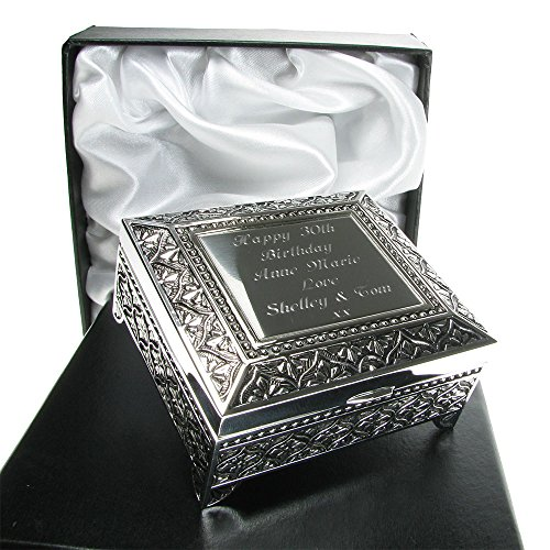 Girls 50th Birthday Gift Silver Plated Trinket Box In A Satin Lined Presentation Idea