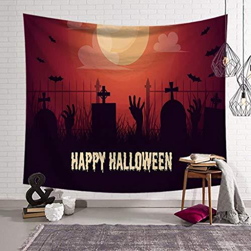 pisserie, Halloween-Thema Nacht Kürbis und Haunted House Ghost Tapisserie Tapisserie, Digital Bedruckte dekorative Decke, Wanddecke, Badetuch (Color : A, Size : 80 x 60 inches) ()