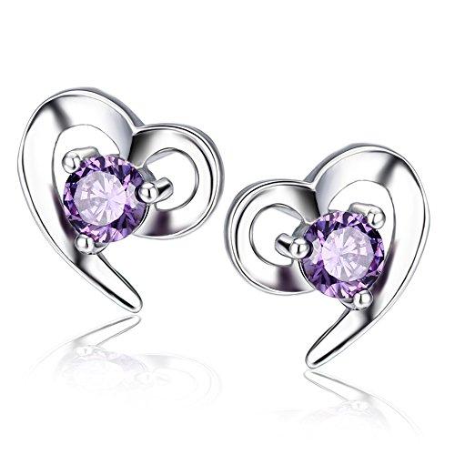 F.ZENI Ohrringe Silber Damen 925 Sterling Silber ohrstecker Liebe Herz Zirkonia Ohrringe für (Kostüme Hinweis Ideen)