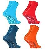 Rainbow Socks 4 Paar Antirutschsocken by BAUMWOLLE Reich, ideal für: Glatte Fußböden, Yoga, Trampolinspringen| BLAU ROSA TÜRKIS ORANGE 36-38, Oeko-Tex-Zertifikat, in EU produziert