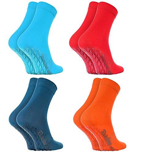 Rainbow Socks 4 Paar Antirutschsocken by BAUMWOLLE Reich, ideal für: Glatte Fußböden, Yoga, Trampolinspringen| BLAU ROSA TÜRKIS ORANGE 39-41, Oeko-Tex-Zertifikat, in EU produziert