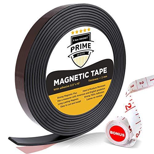 Nastro Magnetico Calamitato Flessibile - Banda Magnetica Da 1,27 cm X 304,8 cm Con Forte Adesivo - Rotolo Magnetico Da 3m Perfetto Per Progetti Artigianali E Fai Da Te - Magneti Anisotropi Adesivi