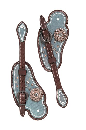WEAVER LEATHER LLC Weaver cuero sabana Cowboy espuelas correa, Metallic Turquoise/Brown