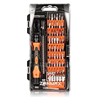 Screwdriver Set, Zanmax 60 in 1 Magnetic Screwdriver Set with 56 Bits, Precision Screwdriver Set with Non-slip Handle, Electronics Repair Tool Kits for iPhone, iPad, MacBook, PC, Xbox, Drone, Clock, Watches, Glasses, Cameras and Electronic Toys, Orange by