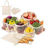 General Sachets Sacs à pain Poche de Fruits et Légumes réutilisables en coton Plastique libre réseaux Boîte avec poignée Design Légumes réseaux Lot de 6Set de 1x S, 2x m, 2x l, 1x en sachet