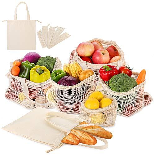 Image of 6er SET Obst- und Gemüsebeutel mit Griff Design Einkaufstaschen mit Brotbeutel aus Baumwolle Wiederverwendbare Einkaufsnetze Plastikfreie Gemüsenetze aus 1x S, 2x M, 2x L, 1x Stoffbeutel