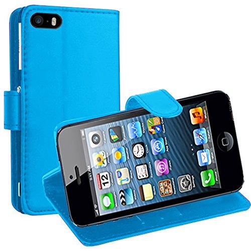 VCOMP® PU-Leder Handy Brieftasche mit Kartenfächer und Video-Standfunktion für Apple iPhone 6 Plus/ 6s Plus - WEISS HELLBLAU