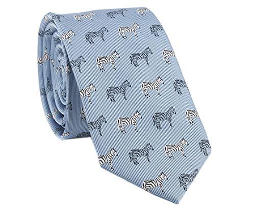YueLian Herren Krawatte,mit Niedlicher Muster, in verschiedenen Farben(Blau Zebra)