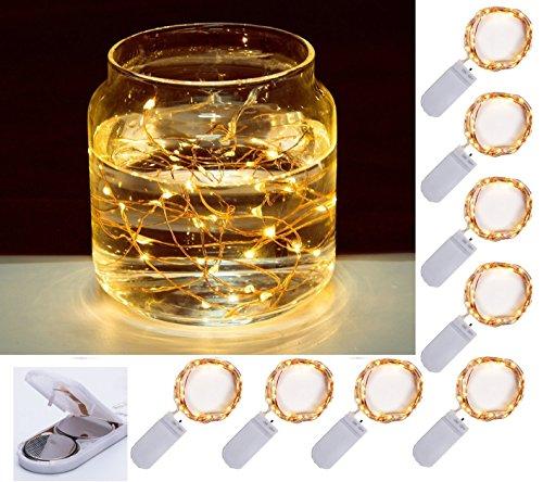 Preisvergleich Produktbild (8-Pack) 20er LED Micro Lichterkette 1.5m Kupferdraht Lichterkette Warmweiß Batteriebetrieben Weihnachtsbeleuchtung