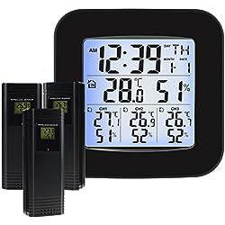 Estación meteorológica inalámbrica con 3 sensores exteriores Inalámbrico, reloj, alarma, temperatura, humedad, fácil de leer Pantalla con retroiluminación LED