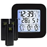 Wireless Weather Station with 3 Outdoor Sensor Wireless, Clock ,Alarm, Temperature, Humidity,Easy to