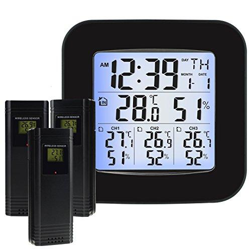 TEKCOPLUS Estación Meteorológica Inalámbrica con 3 Sensores Exteriores Inalámbrico, Reloj, Alarma...