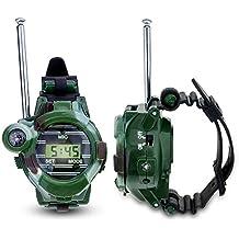 Toifucos Niños Walkie Talkie, 1 Pair de Relojes Walkie Talkie Intercomunicadores Inalambricos 7 en 1 Reloj de los Niños al Aire Libre Radio Juguete, Verde