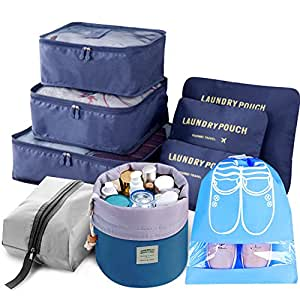 9pcs Travel Organizer Light Packing Cubes include Waterproof Shoe Organizer Toiletry Organizer Laundry Compression Pouches, Navy Blue, Large
