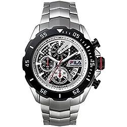 Fila Men's Quartz Watch Strap Watch 38mm/001Filactive Silver Black Sport Chronograph