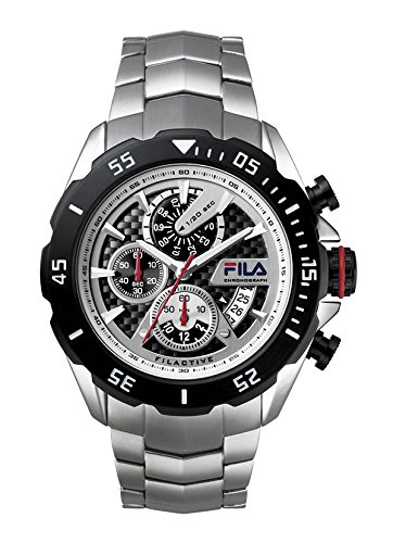 Fila Orologio da uomo orologio da polso al quarzo 38-041-001FILACTIVE Argento Nero Sport cronografo