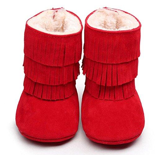 OverDose Baby-Kind Jungen Mädchen Winter Warmhalte Double deck Quasten weichen Schnee lädt weiche Krippe Baumwolle Schuhe Kleinkind Botts 0 ~ 6 Monate 6 ~ 12 Monate 12 ~ 18 Monate 18 ~ 24 Monate Rot