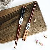 sunnymi Bambus Essstäbchen,2 Paar handgemachte japanische natürliche Kastanie Holz Essstäbchen Set Geschenk (Braun, 23.5cm)