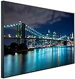 InfrarotPro | Infrarotheizung 900 Watt | Bildheizung 120x75x3 cm | Made in Germany | Geprüfte Technik | Ultra-HD Auflösung | (New York Brooklyn Bridge blau beleuchtet)