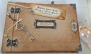 Alice au Pays des Merveilles personnalisable Style Shabby Chic Vintage fait main Style livre d'or pour mariage/Livre/Journal (argent à charnière/naturel)