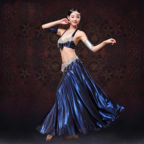 Z&X 3Piece Suit Bauchtanz Rock-Performance Bekleidung Übung Kleidung Sexy High Waist Metall-BH-Tasche Hüfte Rock Anzug Sexy Elegant Geeignet für Leistung - Polyesterfaser,Blue,L -