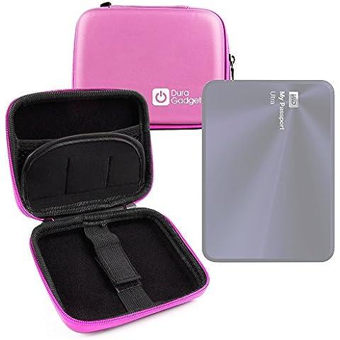 Funda Rígida Rosa Para Disco Duro Externo Portátil WD My Passport Ultra Metal Edition 1TB / 2TB / 3TB / 4TB / Para Mac 2TB - Con Mini Mosquetón - Alta Calidad -