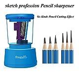 GZQ Robusto Elettrico Temperamatita Affilatori A Lama Elicoidale Batteria/USB/Alimentazione CA,Blue