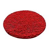 Fenteer Tappeto Tappetino da Bagno Antiscivolo Decorazione Stuoia Gioco per Casa Rotondo - Rosso, Dia. 100cm