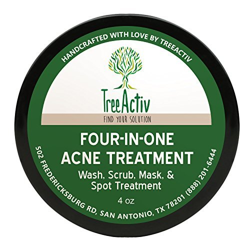 Treeactiv Four-In-One Acne Treatment Wash,Scrub,Mask,And Spot Treatment Heals Rosacea Exfoliating Sugar Face Or Body Natural Sulfur Clear Skin Cleanser Bentonite(4 Oz) (Natürliche Antibakterielle Body Wash)